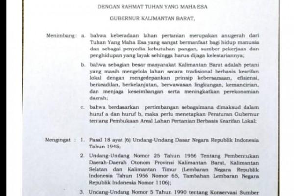 Pergub Tentang Peladang Yang Dikeluarkan Oleh Gubernur Kalimantan Barat
