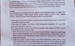 Foto:surat edaran himbauan dari MUI yang dibagikan ke masyarakat